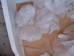 The lacy texture on this fabric flower is to die for!