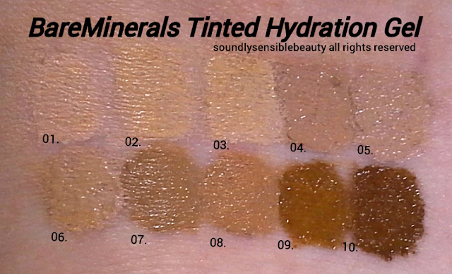 BareMinerals Complexion Rescue Tinted Hydrating Gel Cream SPF 30 Review & Swatches of Shades 01, 02, 03, 04, 05, 06, 07, 08, 09, 10