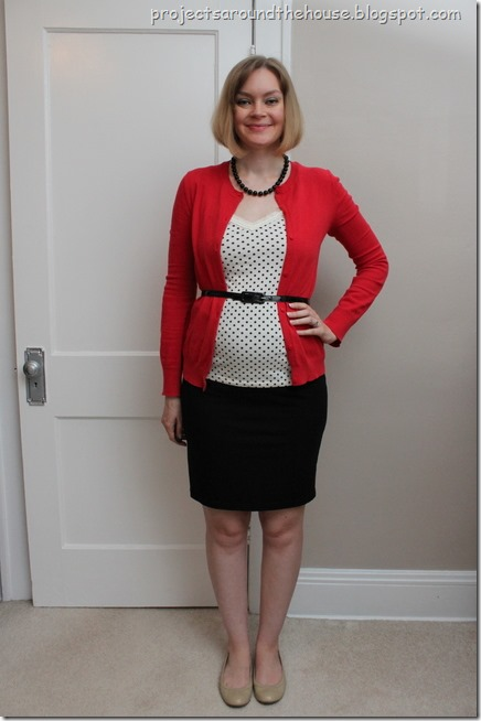 red with black and white polka dots