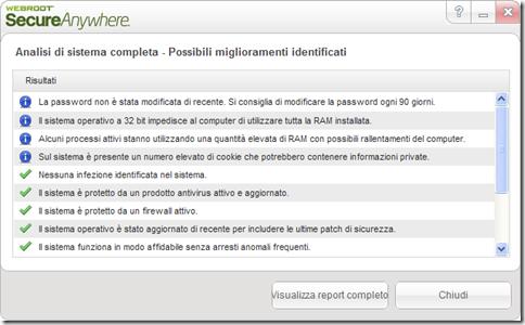 Webroot System Analyzer risultato analisi di sistema