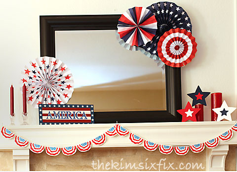 Red white blue mantel