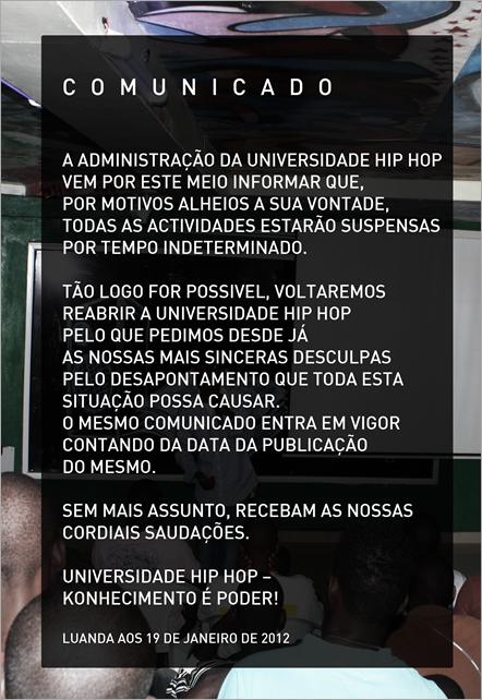 UNIVERSIDADE HIPHOP comunicado