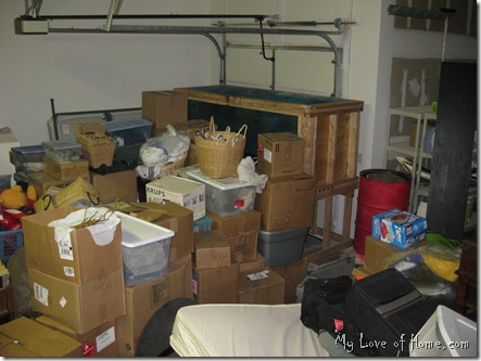 Garage full of boxes and junk