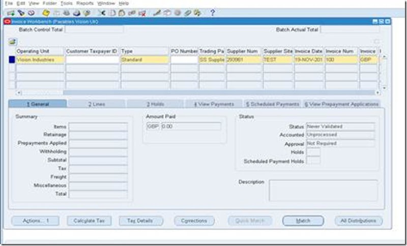 Oracle Applications: How to Create Tax Only Invoice in AP