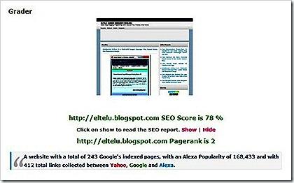 SEO Scrore Eltelu Blog Setelah Dilakukan Pemasangan Widget Dalam Bentuk IFRAME