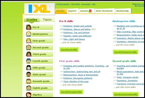 IXL Practice Tab