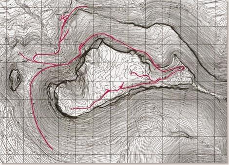Plano de los caminos de El Castellar de Meca según Broncano