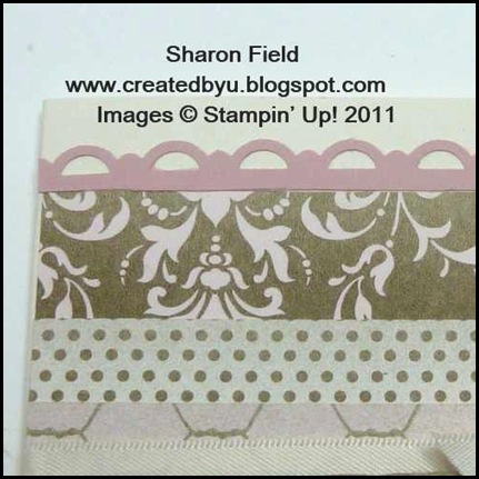 SQSC06, challenge, sketch, beau chateau, soft suede, buttons, antique brads, punch, createdbyu_blogspot, Sharon _field, design_team, stampin_queens, jewelry_tag, open_scallop_border, vintage, ribbon, twine