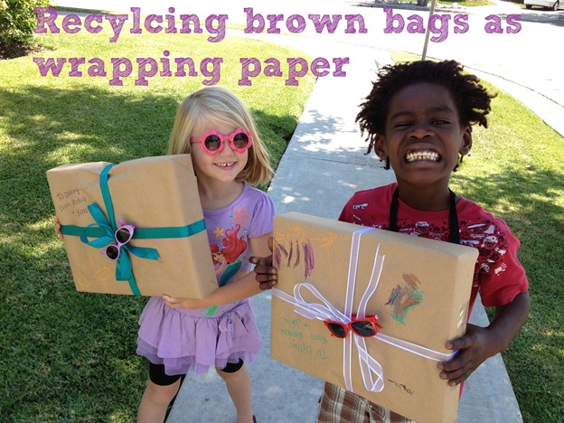 IMG_4481recycle brown bags as wrapping paper that kids can decorate themselves