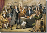 Patrick Henry delivering his great speech