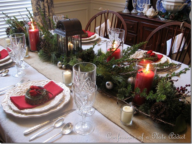 Confessions of a plate addict my rustic christmas for Burlap christmas table decorations
