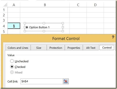 Form Controls in Excel - Option Button Format