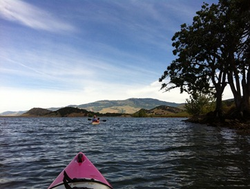 paddling north toward the campground on Emigrant Lake