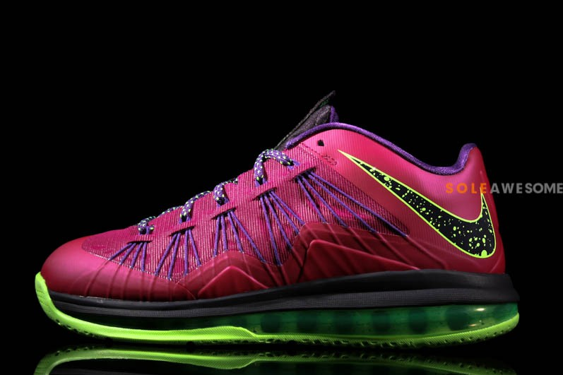 Nike Air Max LeBron X Low Red Plum amp Neon Green 579765601 ...