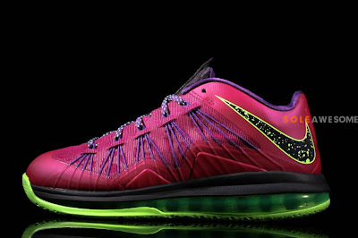 nike lebron 10 low gr purple neon green 1 06 Nike Air Max LeBron X Low Red Plum & Neon Green (579765 601)