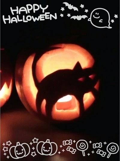 happy halloween calabaza carvada gato