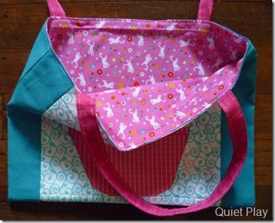 Inside cupcake tote bag