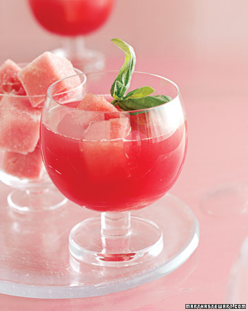 Watermelon-Basil margaritas are a beautiful variation on their traditional cousins. (marthastewart.com)