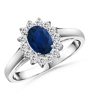 Oval Sapphire and Round Diamond Vintage Ring