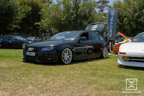 Audi A4 Wagon with AccuAir e-Level sitting on Rotiform SNA's