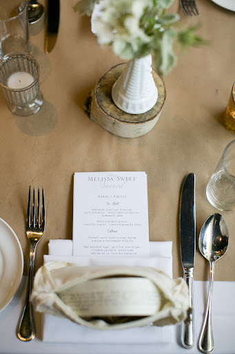 Perfectly laid place settings with menus by East Six