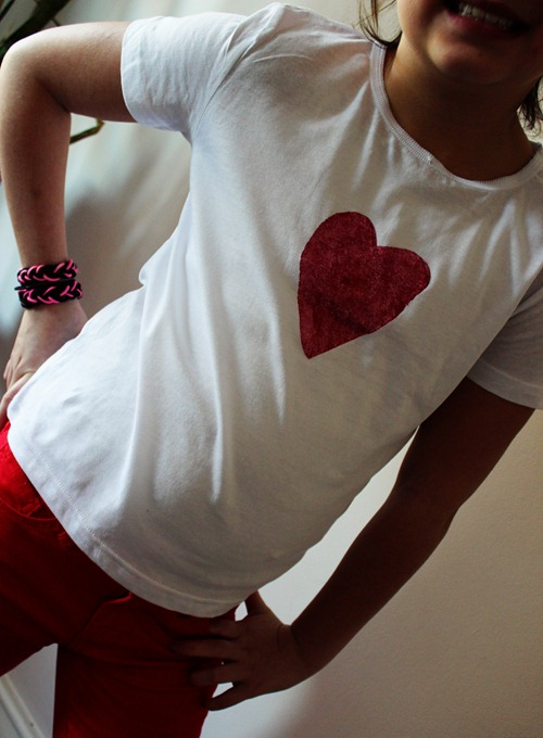 Freezer Paper Stencil Heart Shirt