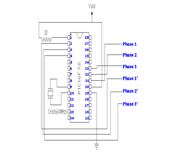 Connection diagram of PIC16F72 for six phase SPWM