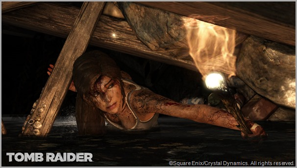Lara Croft toughs it out in this screen shot. CLICK to visit the official TOMB RAIDER site.