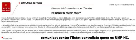 comunicat de premsa Martin Malvy contra l'Estat UMP