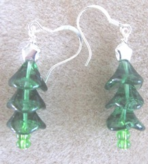 Cape green beads Christmas trees with silver star earrings