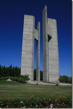 The Peace Tower is on the 49th parallel half of it in North Dakota and half in Manitoba
