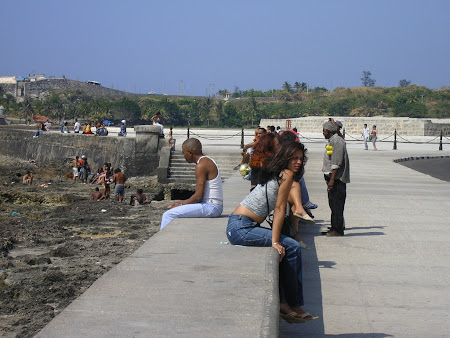 Girls on the Malecon, the main road of Havana