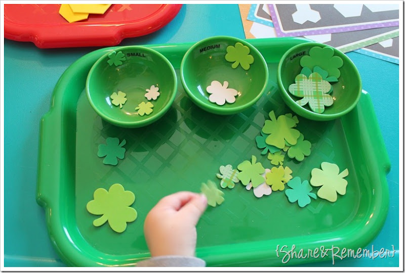 Preschool Activity Trays - size sorting