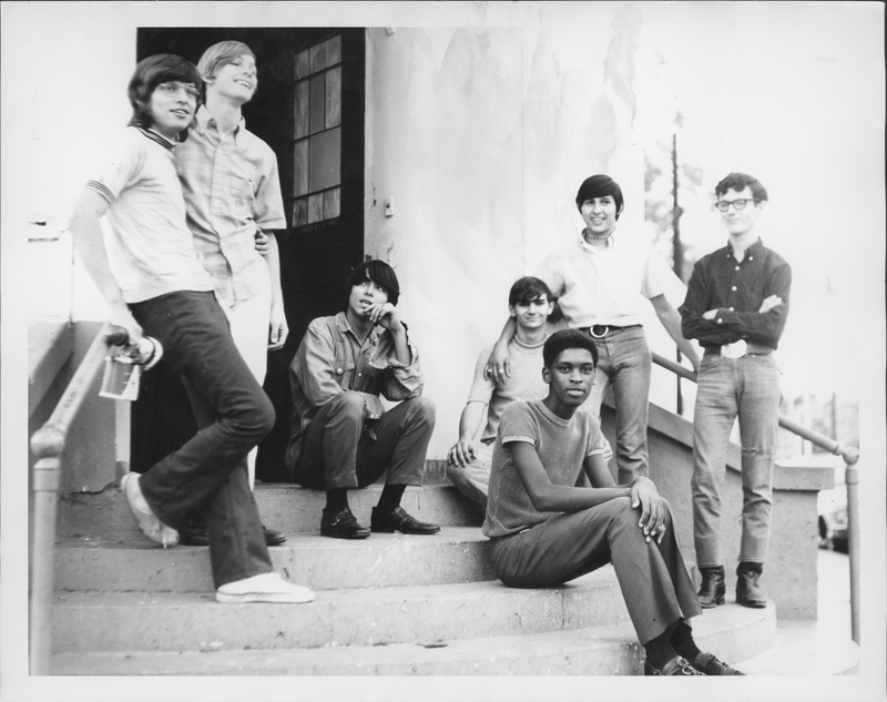 Young men gathering on the steps outside the Metropolitan Community Church (MCC). Circa 1970.