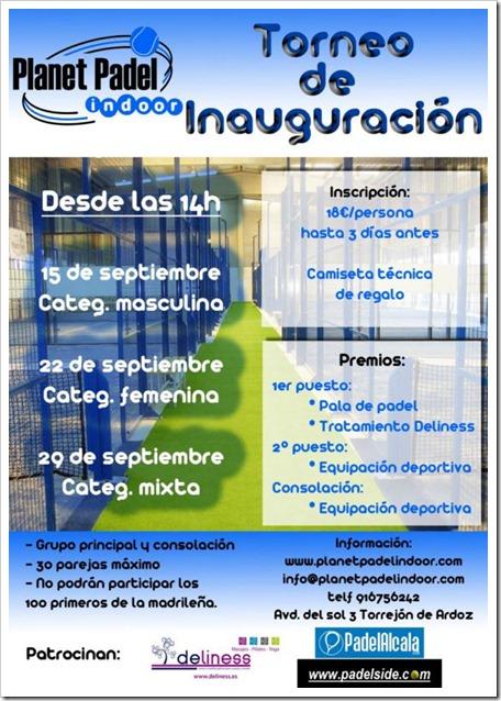 Torneo Inauguración Planet Padel Indoor Club Torrejón Ardoz, septiembre 2012.