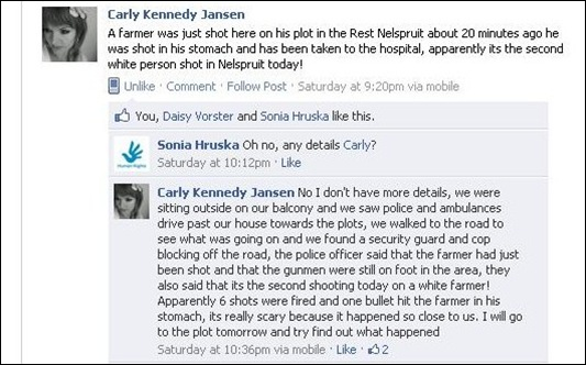 Joseph Neville and ferreira family attacked by three blacks Jan 22 2012 Nelspruit Rest smallhold