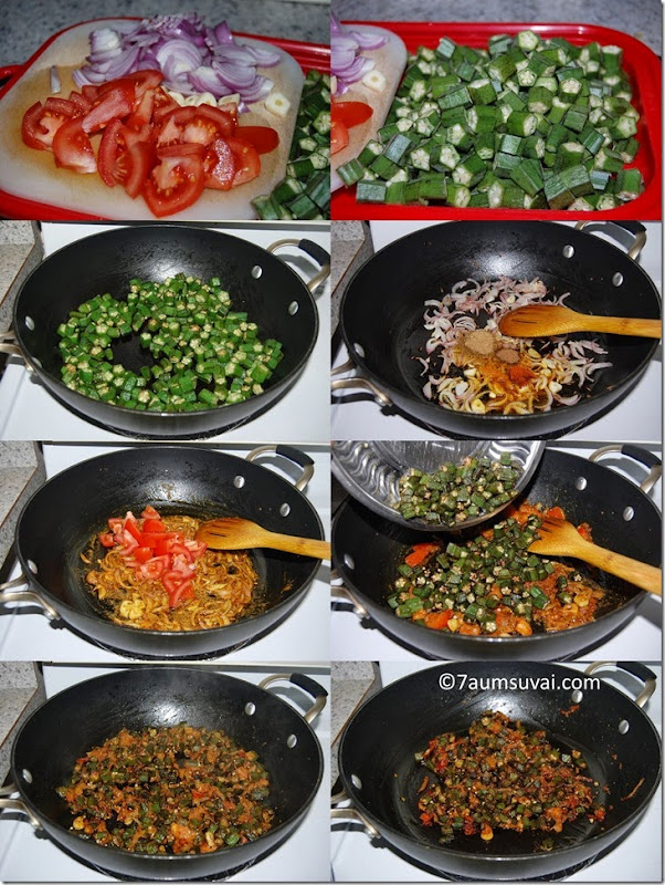 Vendakkai curry process
