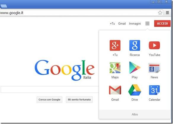 Home Page Google su Chrome 30