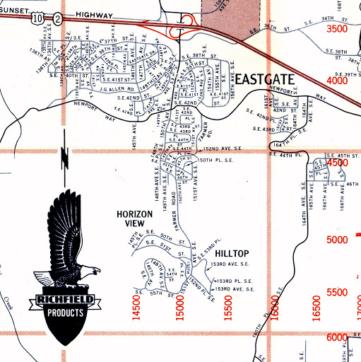Bellevue WA - Eastgate, Hilltop, Horizon View neighborhoods on a Richfield gas station map from 1961.  US 10 is now Interstate 90