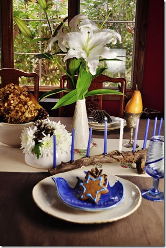 Hanukah table on Thanksgiving 2