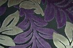 Tkanina obiciowa, trudnopalna. Pluszowa. Motyw roślinny - liście. Szara, fioletowa, czarna.