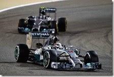 Le due Mercedes nel gran premio del Bahrain 2014