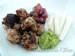Turkey Veggie Bites wJicama-Guac n Grapes