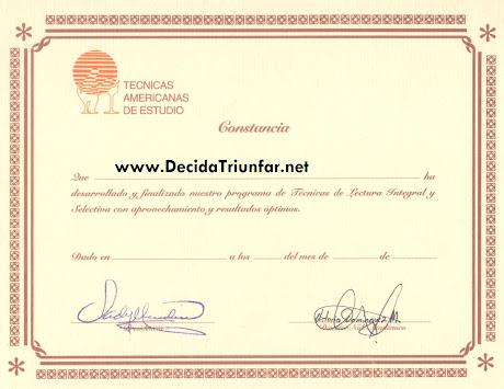 Diploma del Curso Lectura Rápida - Técnicas Americanas de Estudio