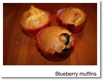 Very quick blueberry muffins