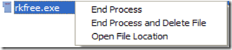 Process Revealer Free Edition terminare ed eliminare processo spia