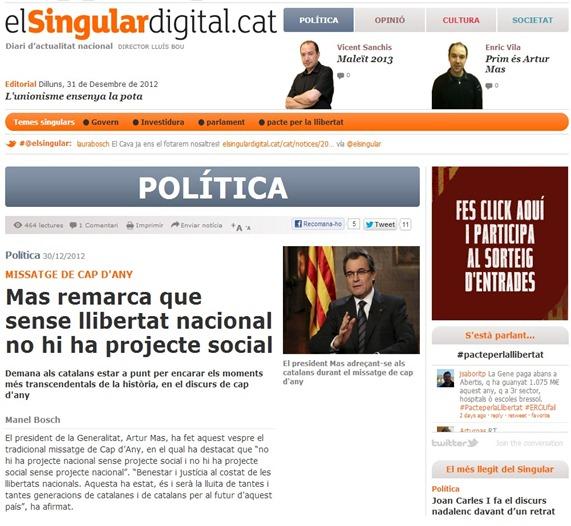 Artur Mas e la libertat nacionala