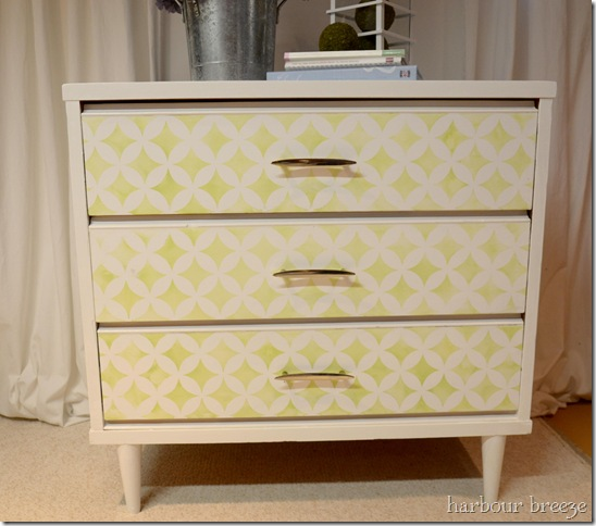 steciled dresser in daylight