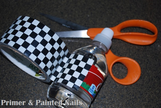 Duck Tape covered Water Bottle - Primer & Painted Nails