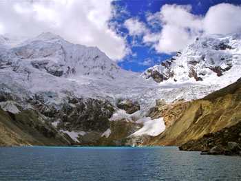 Melt water from the glaciers of the Cordillera Blanca forms lagoons that in turn feed rivers and streams. The water supplied by the glaciers of the Cordillera Blanca, vital to a huge region of northwest Peru, is decreasing 20 years sooner than expected, as the glaciers melt. Courtesy of Michel Baraer